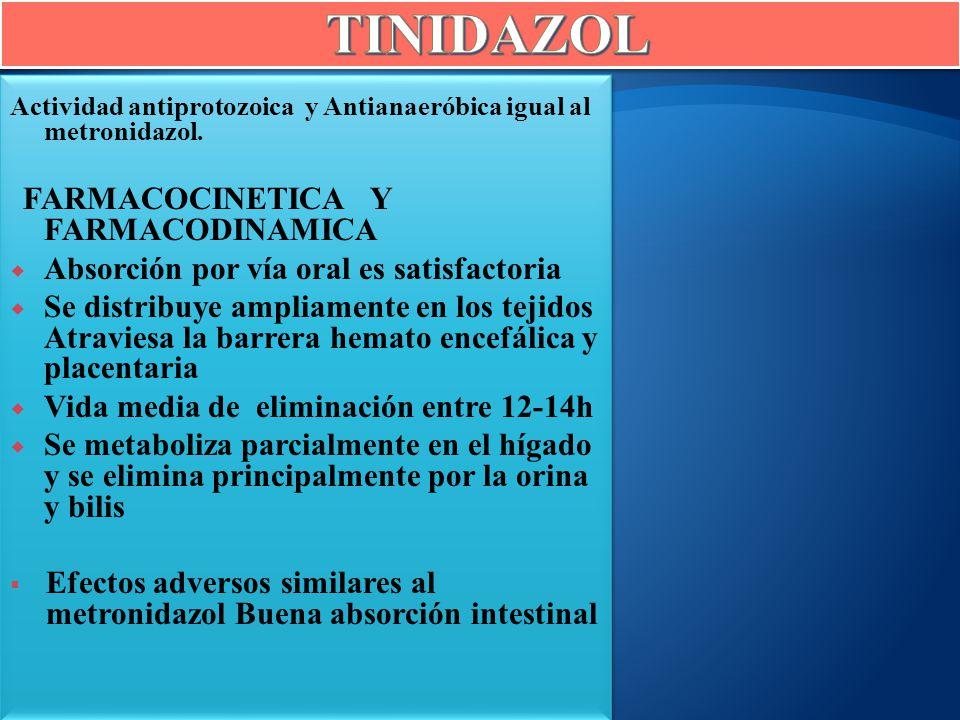 Actividad antiprotozoica y Antianaeróbica igual al metronidazol. FARMACOCINETICA Y FARMACODINAMICA Absorción por vía oral es satisfactoria Se distribu