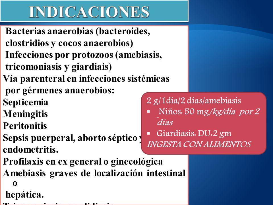 Bacterias anaerobias (bacteroides, clostridios y cocos anaerobios) Infecciones por protozoos (amebiasis, tricomoniasis y giardiais) Vía parenteral en