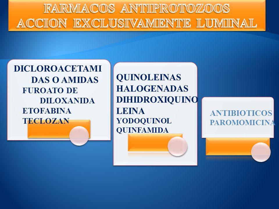 METRONIDAZ OL Giardiasis, Amebiasis invasiva, Tricomoniasis TINIDAZOL Disentería amebiana, Giardiasis, Amebiasis invasiva, Tricomoniasis SECNIDAZOL Disentería amebiana, Amebiasis NITAZOXANID A MIXTO Helmintos y Protozoos MIXTO Helmintos y Protozoos ORNIDAZOL Disentería amebiana absceso hepático Giardiosis.
