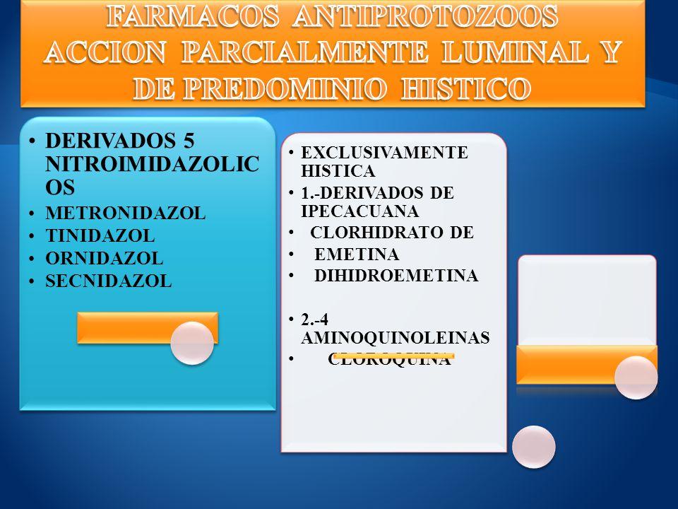 DERIVADOS 5 NITROIMIDAZOLICO S METRONIDAZOL TINIDAZOL ORNIDAZOL SECNIDAZOL EXCLUSIVAMENTE HISTICA 1.-DERIVADOS DE IPECACUANA CLORHIDRATO DE EMETINA DI