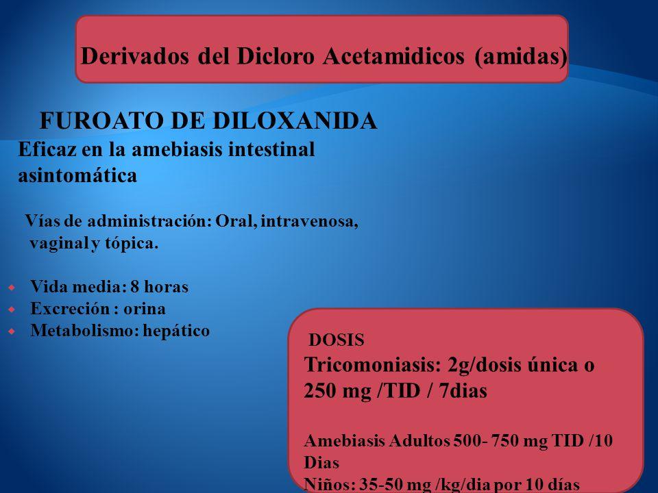 FUROATO DE DILOXANIDA Eficaz en la amebiasis intestinal asintomática Vías de administración: Oral, intravenosa, vaginal y tópica. Vida media: 8 horas
