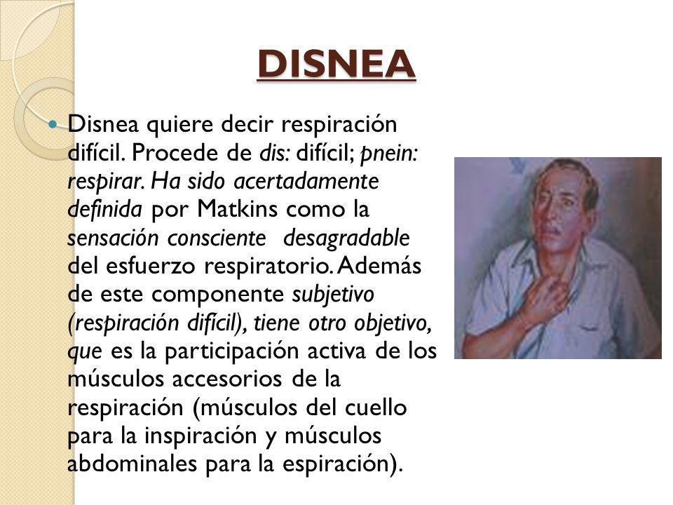 DISNEA Disnea quiere decir respiración difícil.Procede de dis: difícil; pnein: respirar.
