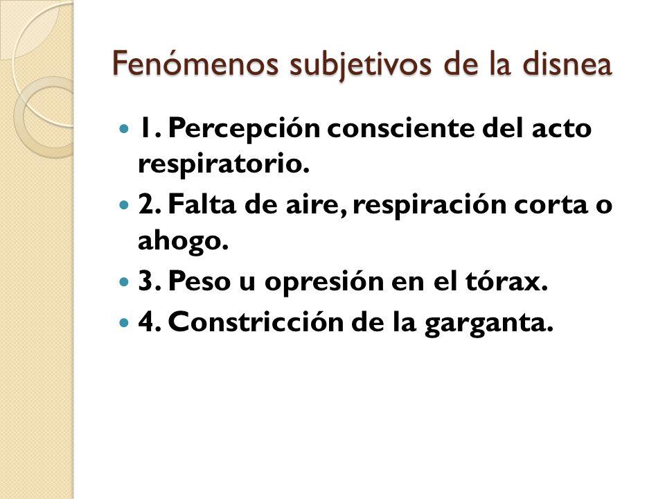 Fenómenos subjetivos de la disnea 1.Percepción consciente del acto respiratorio.