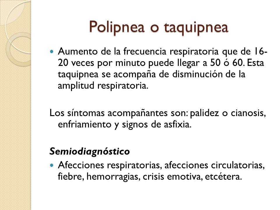 Polipnea o taquipnea Aumento de la frecuencia respiratoria que de 16- 20 veces por minuto puede llegar a 50 ó 60.