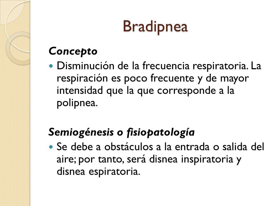 Bradipnea Concepto Disminución de la frecuencia respiratoria.