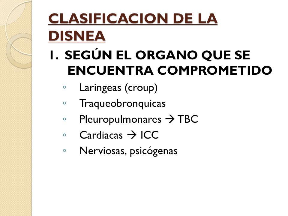 CLASIFICACION DE LA DISNEA 1.