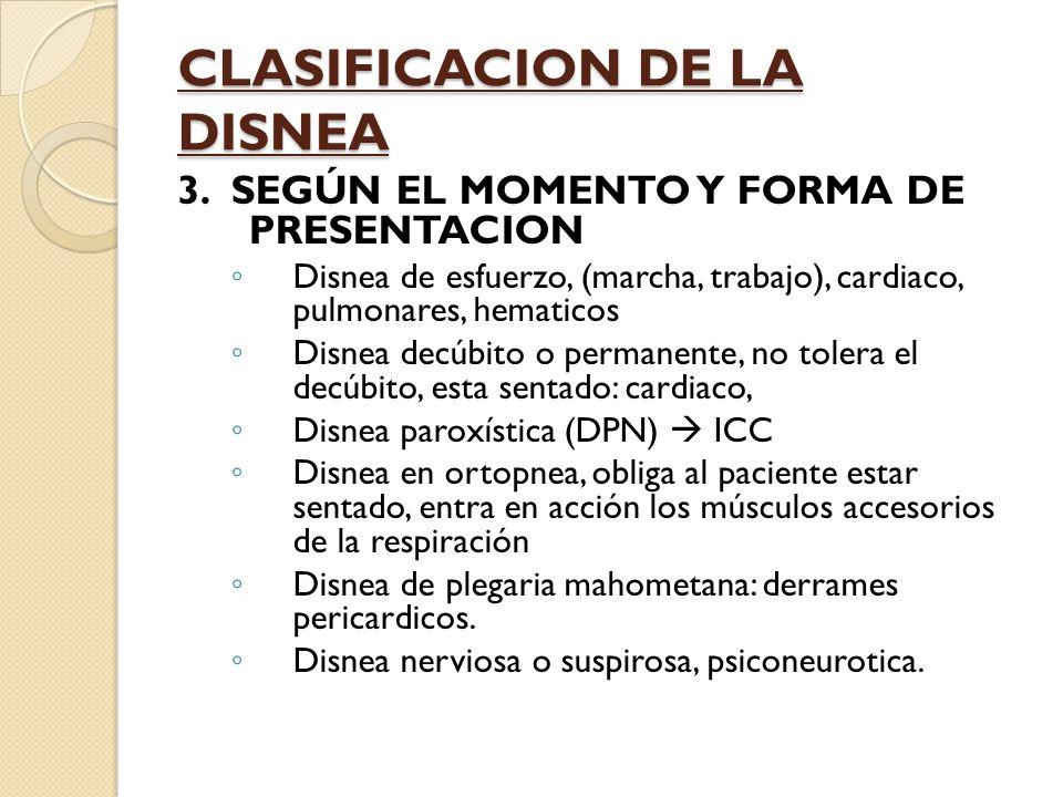 CLASIFICACION DE LA DISNEA 3.