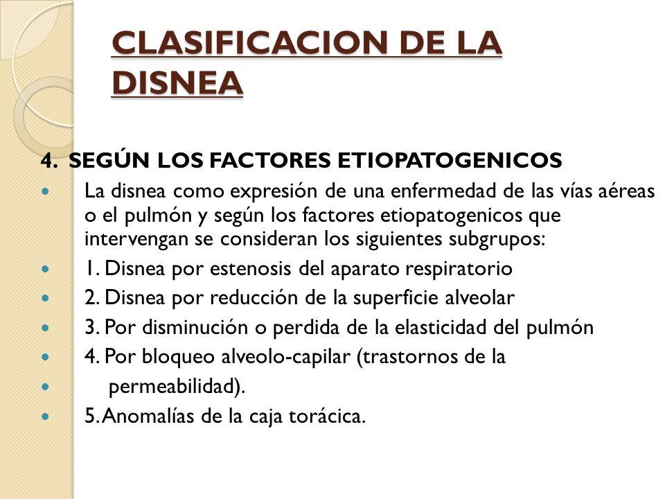 CLASIFICACION DE LA DISNEA 4.