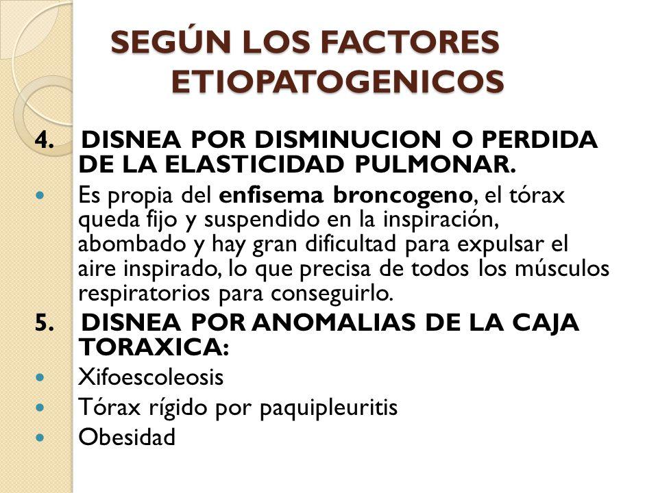 SEGÚN LOS FACTORES ETIOPATOGENICOS 4.DISNEA POR DISMINUCION O PERDIDA DE LA ELASTICIDAD PULMONAR.