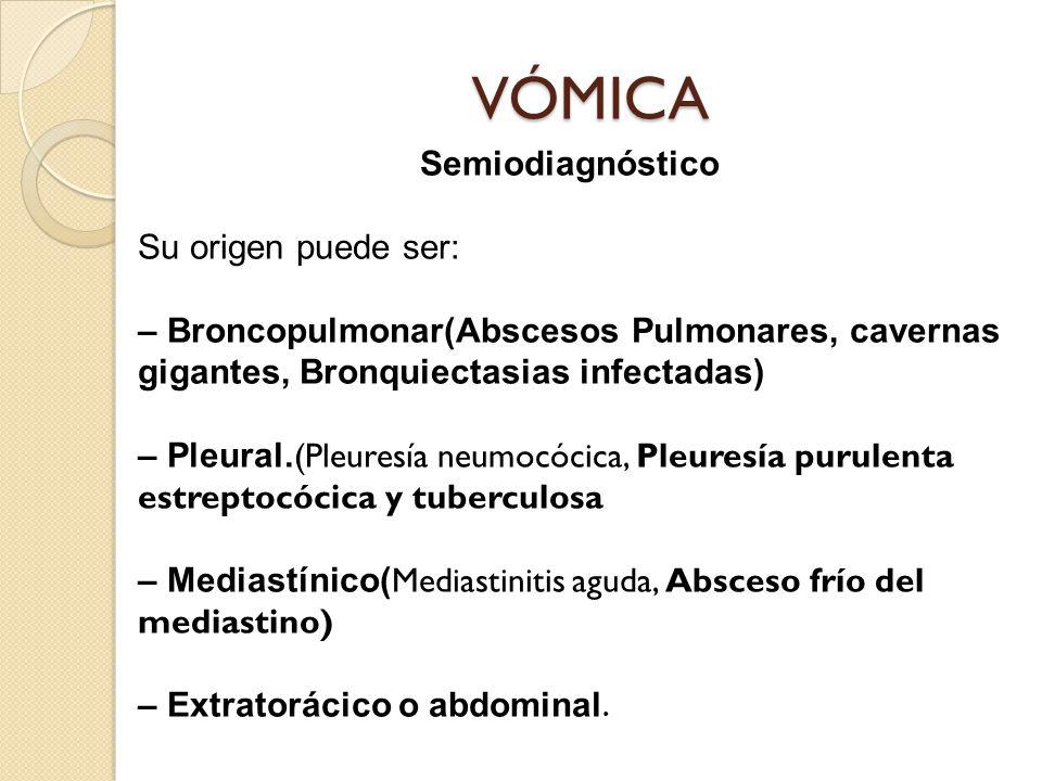 VÓMICA Semiodiagnóstico Su origen puede ser: – Broncopulmonar(Abscesos Pulmonares, cavernas gigantes, Bronquiectasias infectadas) – Pleural.