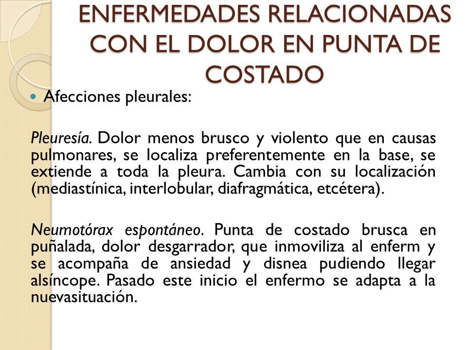 ENFERMEDADES RELACIONADAS CON EL DOLOR EN PUNTA DE COSTADO Afecciones pleurales: Pleuresía.