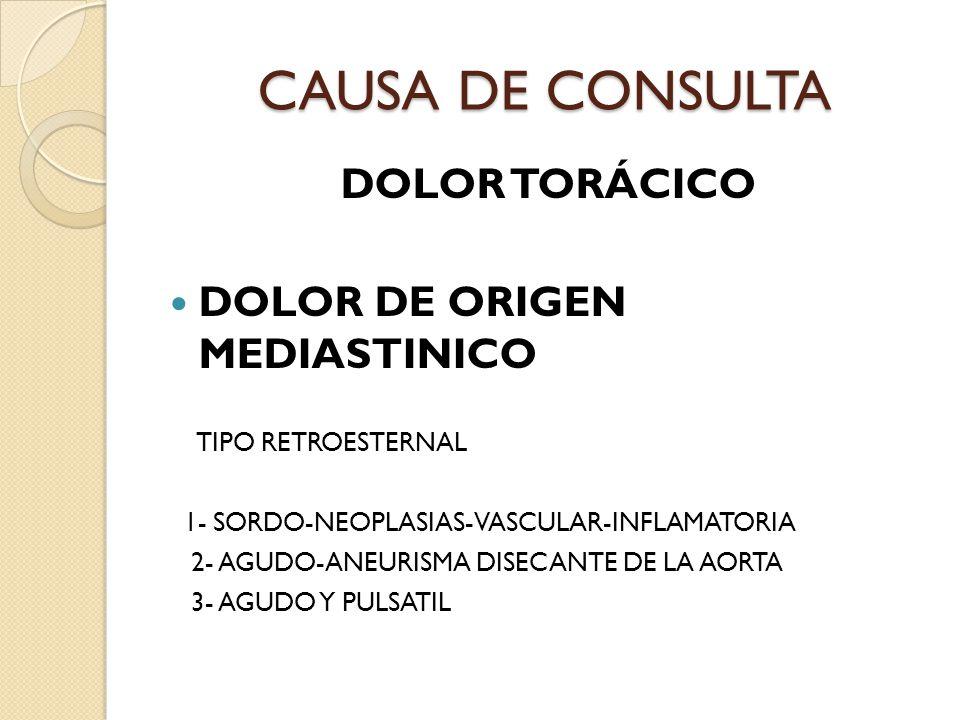 CAUSA DE CONSULTA DOLOR TORÁCICO DOLOR DE ORIGEN MEDIASTINICO TIPO RETROESTERNAL 1- SORDO-NEOPLASIAS-VASCULAR-INFLAMATORIA 2- AGUDO-ANEURISMA DISECANTE DE LA AORTA 3- AGUDO Y PULSATIL
