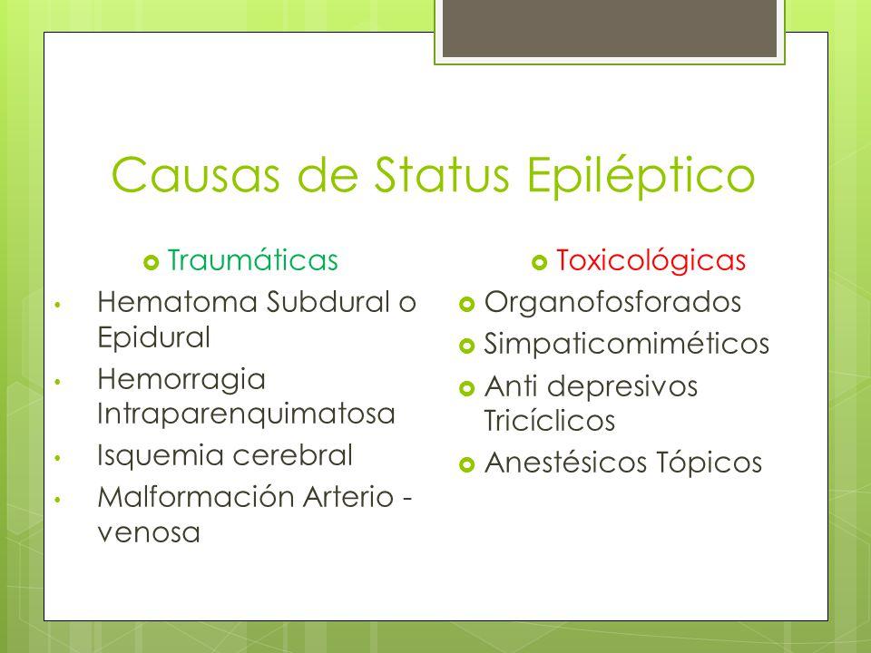 Causas de Status Epiléptico Traumáticas Hematoma Subdural o Epidural Hemorragia Intraparenquimatosa Isquemia cerebral Malformación Arterio - venosa To