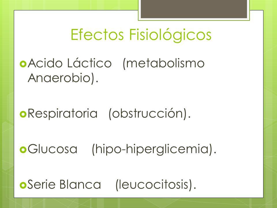Efectos Fisiológicos Acido Láctico (metabolismo Anaerobio). Respiratoria (obstrucción). Glucosa (hipo-hiperglicemia). Serie Blanca (leucocitosis).