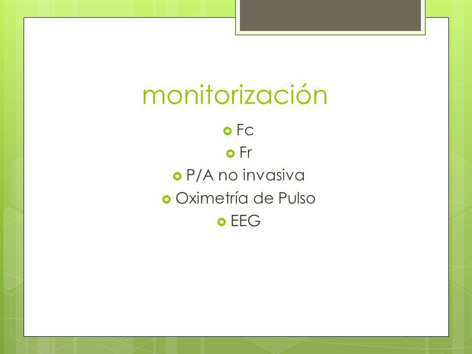 monitorización Fc Fr P/A no invasiva Oximetría de Pulso EEG