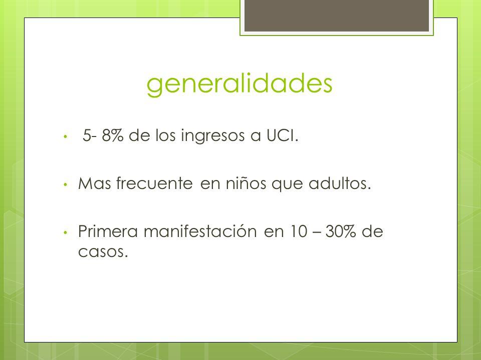 generalidades 5- 8% de los ingresos a UCI. Mas frecuente en niños que adultos. Primera manifestación en 10 – 30% de casos.