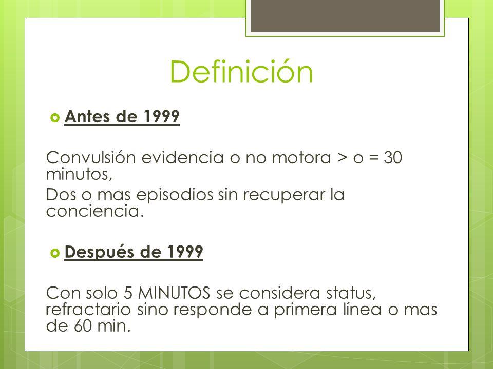 Definición Antes de 1999 Convulsión evidencia o no motora > o = 30 minutos, Dos o mas episodios sin recuperar la conciencia. Después de 1999 Con solo