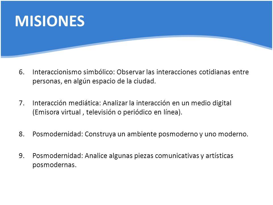 MISIONES 6.Interaccionismo simbólico: Observar las interacciones cotidianas entre personas, en algún espacio de la ciudad. 7.Interacción mediática: An