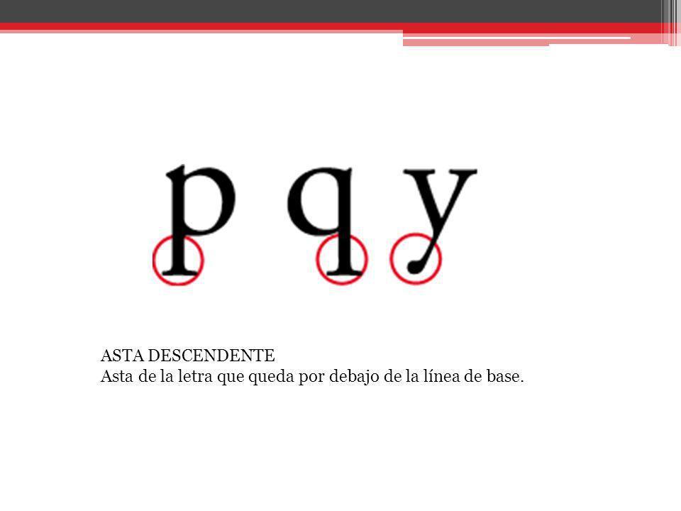 ASTA DESCENDENTE Asta de la letra que queda por debajo de la línea de base.
