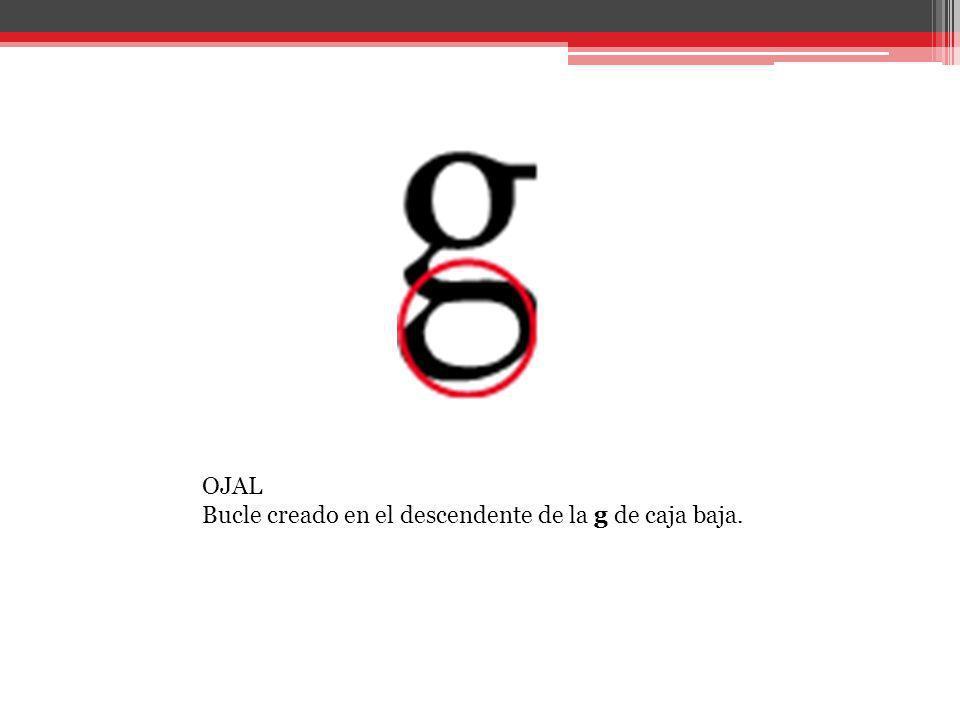 OJAL Bucle creado en el descendente de la g de caja baja.