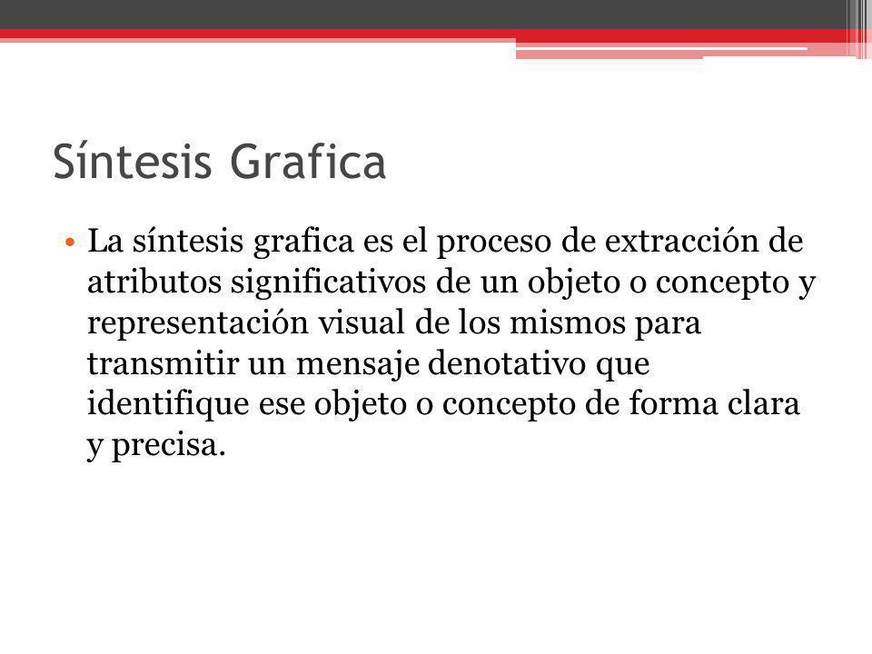 Síntesis Grafica La síntesis grafica es el proceso de extracción de atributos significativos de un objeto o concepto y representación visual de los mi
