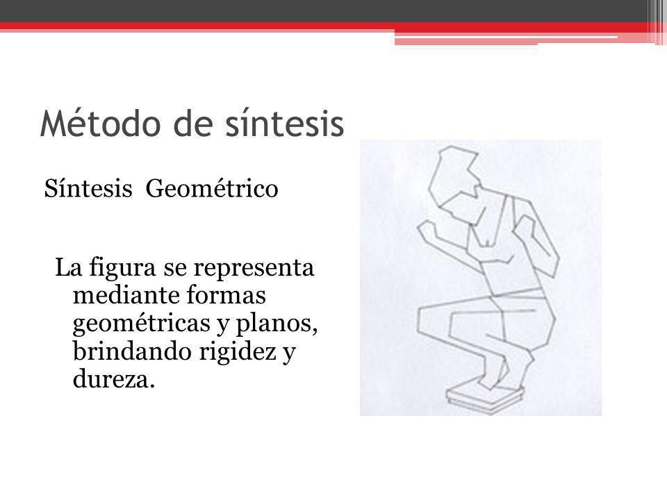 Método de síntesis Síntesis Geométrico La figura se representa mediante formas geométricas y planos, brindando rigidez y dureza.