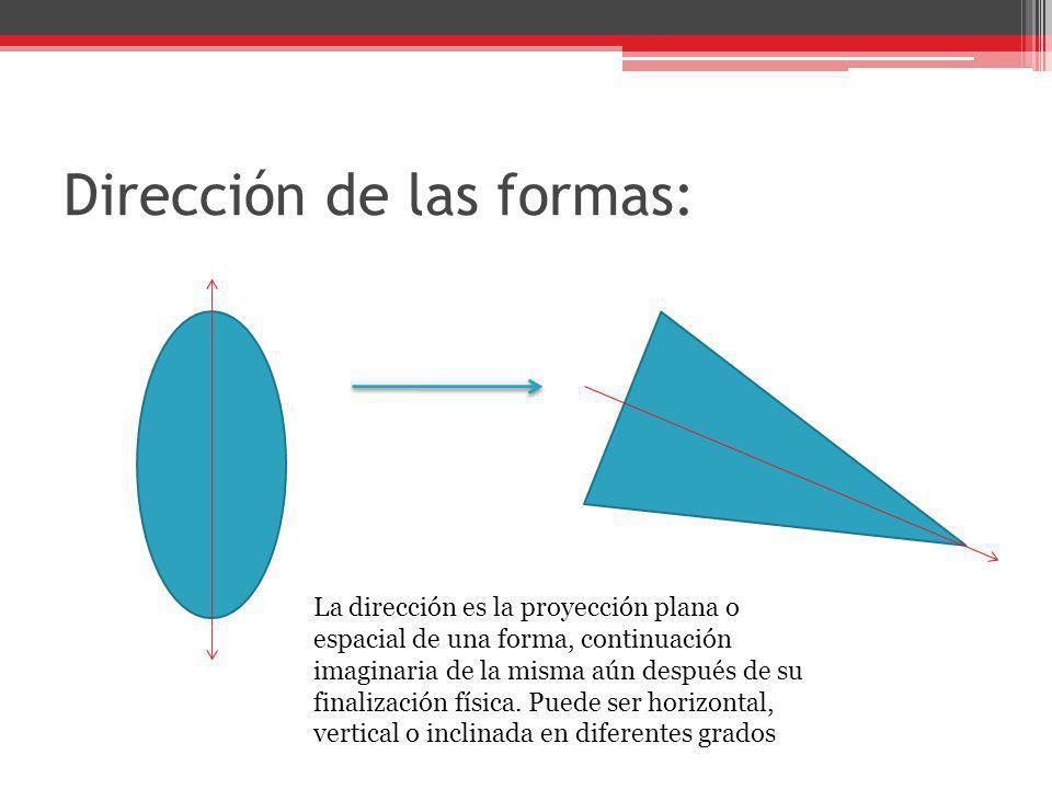 Dirección de las formas: La dirección es la proyección plana o espacial de una forma, continuación imaginaria de la misma aún después de su finalizaci