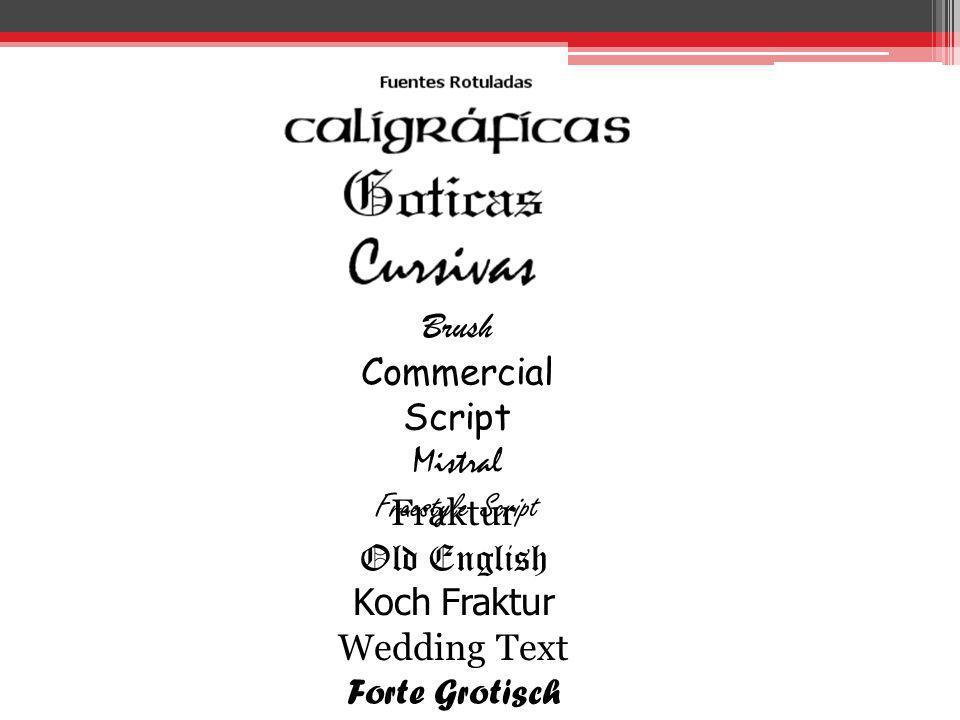 Brush Commercial Script Mistral Freestyle Script Fraktur Old English Koch Fraktur Wedding Text Forte Grotisch