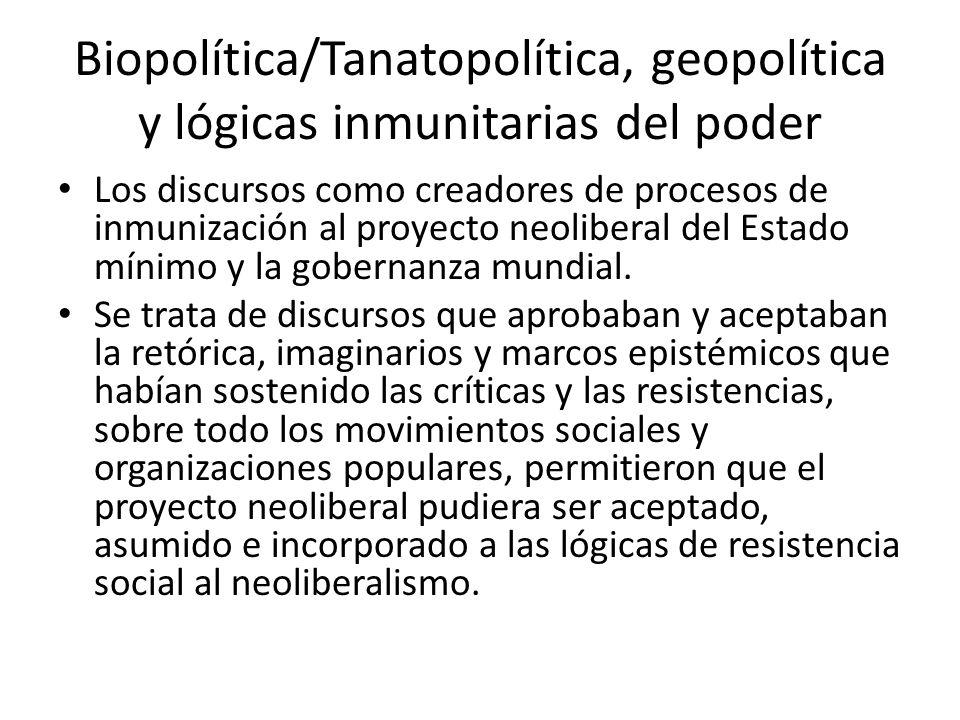Biopolítica/Tanatopolítica, geopolítica y lógicas inmunitarias del poder Los discursos como creadores de procesos de inmunización al proyecto neoliber