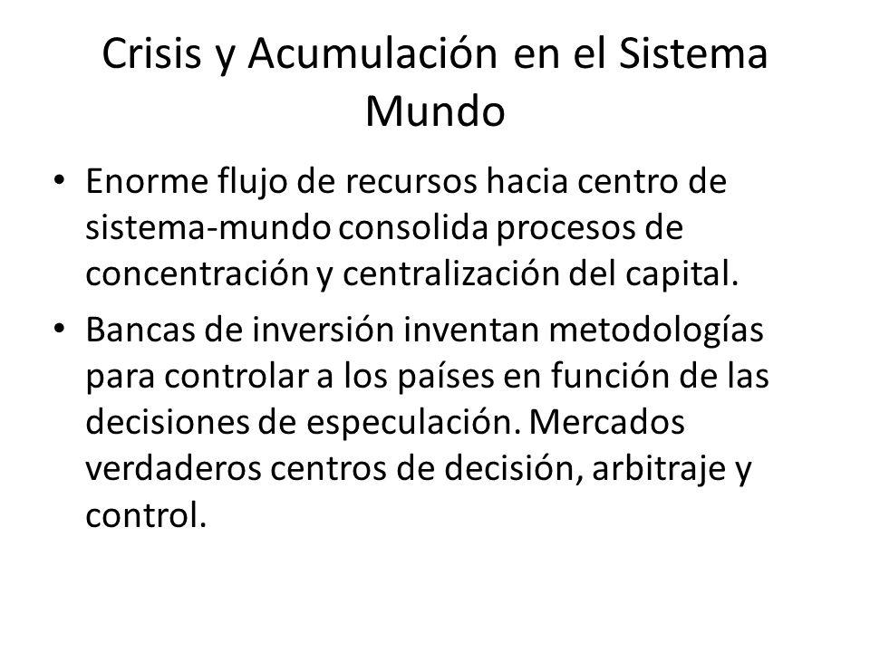 Crisis y Acumulación en el Sistema Mundo Enorme flujo de recursos hacia centro de sistema-mundo consolida procesos de concentración y centralización d