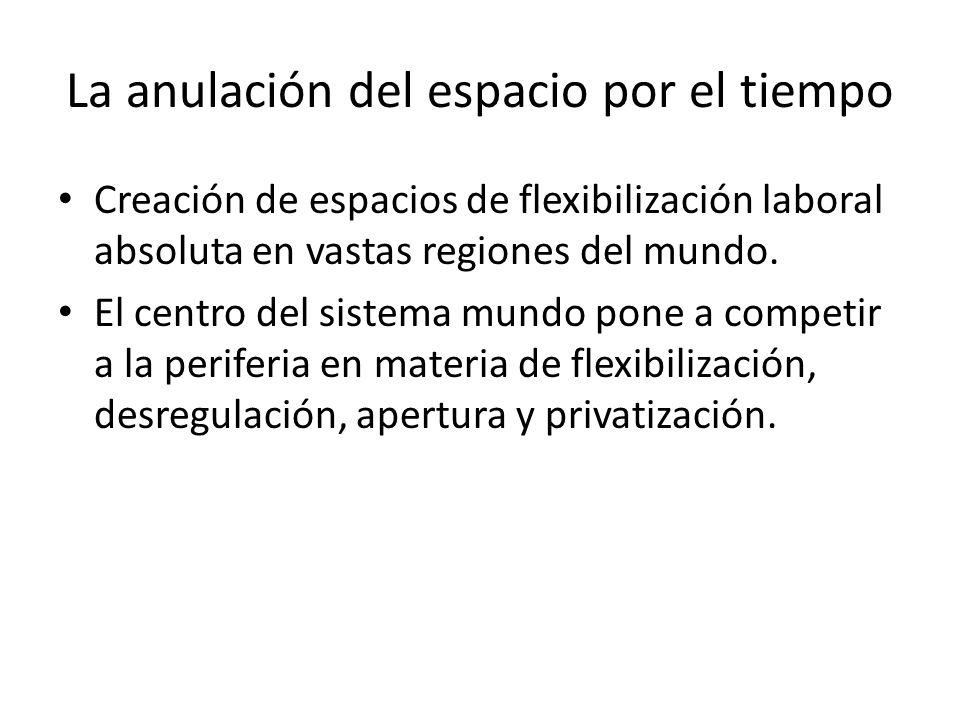 La anulación del espacio por el tiempo Creación de espacios de flexibilización laboral absoluta en vastas regiones del mundo. El centro del sistema mu