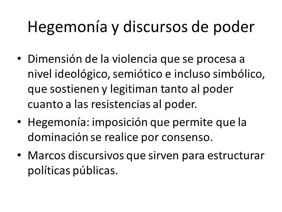 Hegemonía y discursos de poder Dimensión de la violencia que se procesa a nivel ideológico, semiótico e incluso simbólico, que sostienen y legitiman t