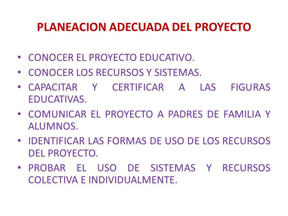 PLANEACION ADECUADA DEL PROYECTO CONOCER EL PROYECTO EDUCATIVO. CONOCER LOS RECURSOS Y SISTEMAS. CAPACITAR Y CERTIFICAR A LAS FIGURAS EDUCATIVAS. COMU