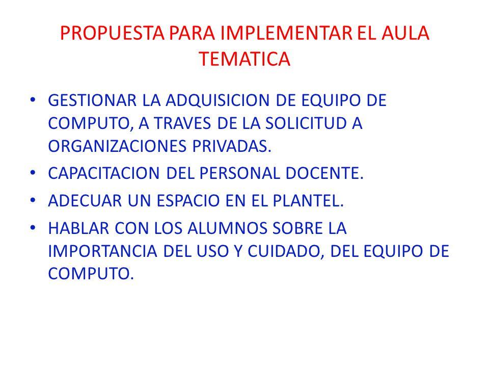 PROPUESTA PARA IMPLEMENTAR EL AULA TEMATICA GESTIONAR LA ADQUISICION DE EQUIPO DE COMPUTO, A TRAVES DE LA SOLICITUD A ORGANIZACIONES PRIVADAS. CAPACIT
