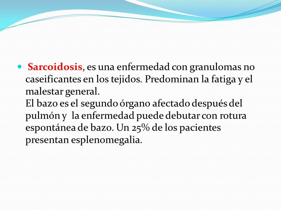 TUMORES DEL BAZO tumores primarios de bazo (hemangioma, linfangioma, hemangioendotelioma, pseudotumor inflamatorio, fibrosarcoma, lipoma, hamartoma), las metástasis esplénicas son raras generalmente provienen de tumores primarios de pulmón, mama y melanoma.