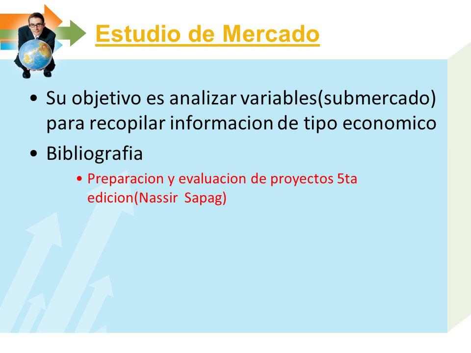 Estudio de Mercado Su objetivo es analizar variables(submercado) para recopilar informacion de tipo economico Bibliografia Preparacion y evaluacion de proyectos 5ta edicion(Nassir Sapag)