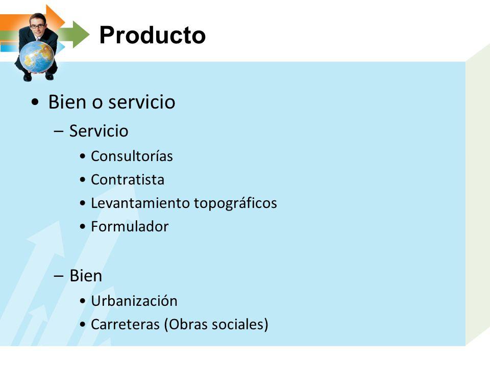 Producto Bien o servicio –Servicio Consultorías Contratista Levantamiento topográficos Formulador –Bien Urbanización Carreteras (Obras sociales)