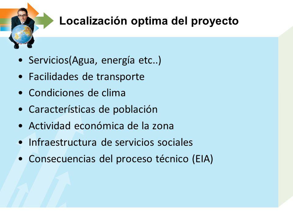 Servicios(Agua, energía etc..) Facilidades de transporte Condiciones de clima Características de población Actividad económica de la zona Infraestructura de servicios sociales Consecuencias del proceso técnico (EIA)