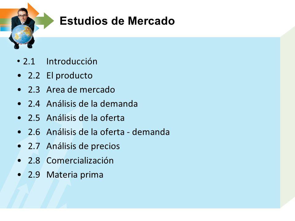 Estudios de Mercado 2.1 Introducción 2.2 El producto 2.3 Area de mercado 2.4 Análisis de la demanda 2.5 Análisis de la oferta 2.6 Análisis de la oferta demanda 2.7 Análisis de precios 2.8 Comercialización 2.9 Materia prima