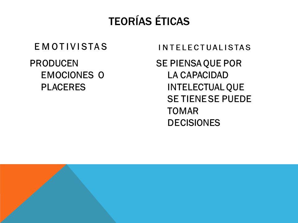TEORÍAS ÉTICAS EMOTIVISTAS PRODUCEN EMOCIONES O PLACERES INTELECTUALISTAS SE PIENSA QUE POR LA CAPACIDAD INTELECTUAL QUE SE TIENE SE PUEDE TOMAR DECIS