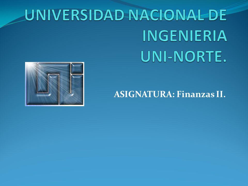 ASIGNATURA: Finanzas II.
