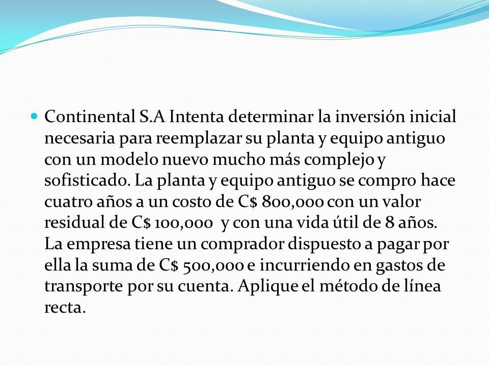 Continental S.A Intenta determinar la inversión inicial necesaria para reemplazar su planta y equipo antiguo con un modelo nuevo mucho más complejo y
