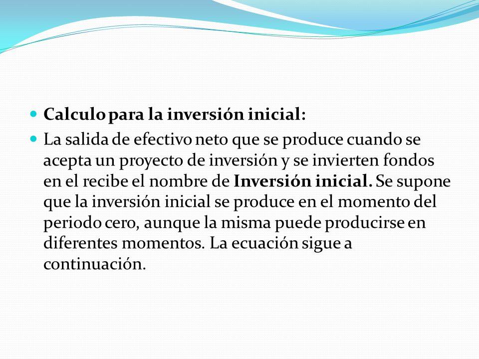 Formula básica para determinar la inversión inicial.