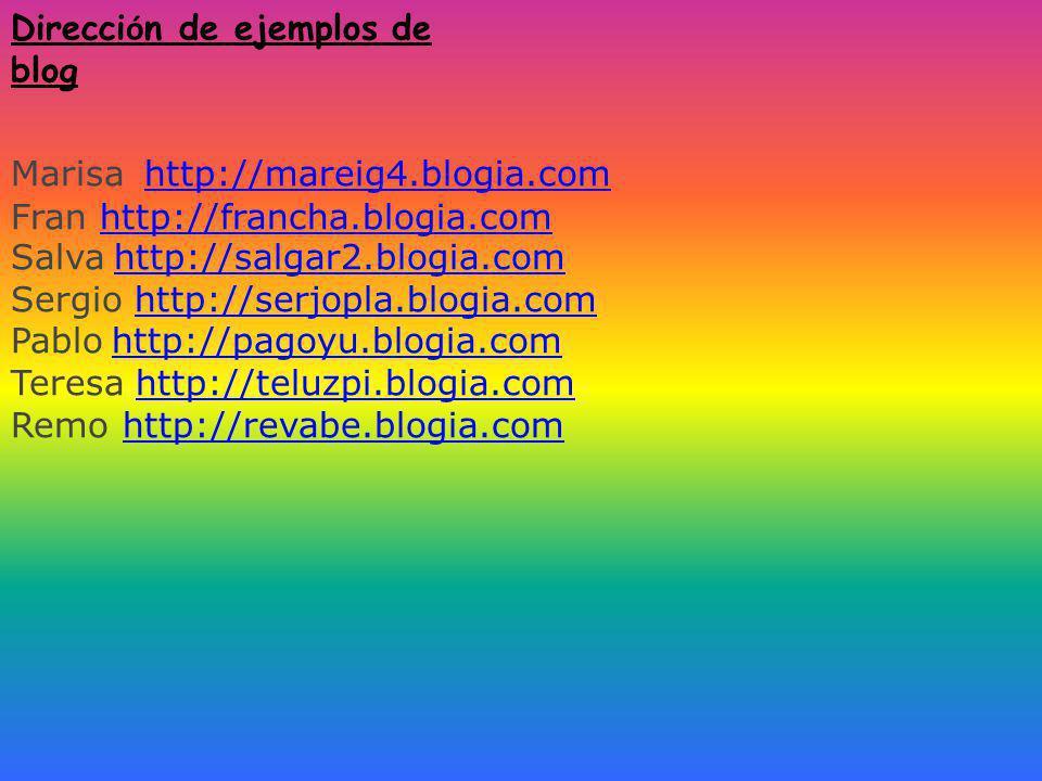 Direcci ó n de ejemplos de blog Marisa http://mareig4.blogia.comhttp://mareig4.blogia.com Fran http://francha.blogia.comhttp://francha.blogia.com Salva http://salgar2.blogia.com http://salgar2.blogia.com Sergio http://serjopla.blogia.comhttp://serjopla.blogia.com Pablo http://pagoyu.blogia.com http://pagoyu.blogia.com Teresa http://teluzpi.blogia.comhttp://teluzpi.blogia.com Remo http://revabe.blogia.comhttp://revabe.blogia.com