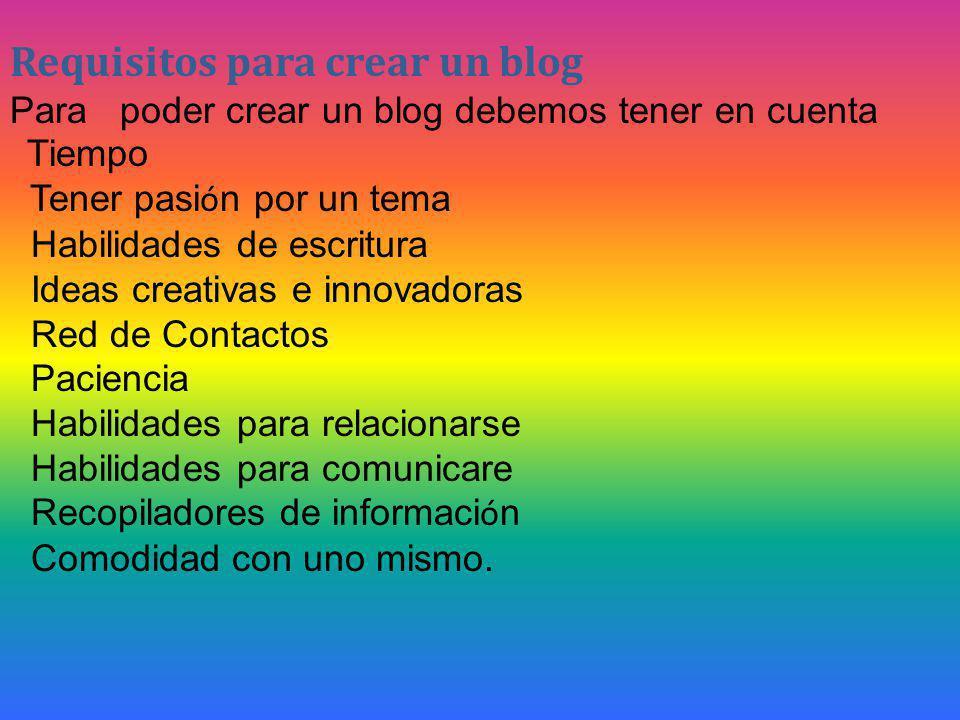 Requisitos para crear un blog Para poder crear un blog debemos tener en cuenta Tiempo Tener pasi ó n por un tema Habilidades de escritura Ideas creativas e innovadoras Red de Contactos Paciencia Habilidades para relacionarse Habilidades para comunicare Recopiladores de informaci ó n Comodidad con uno mismo.