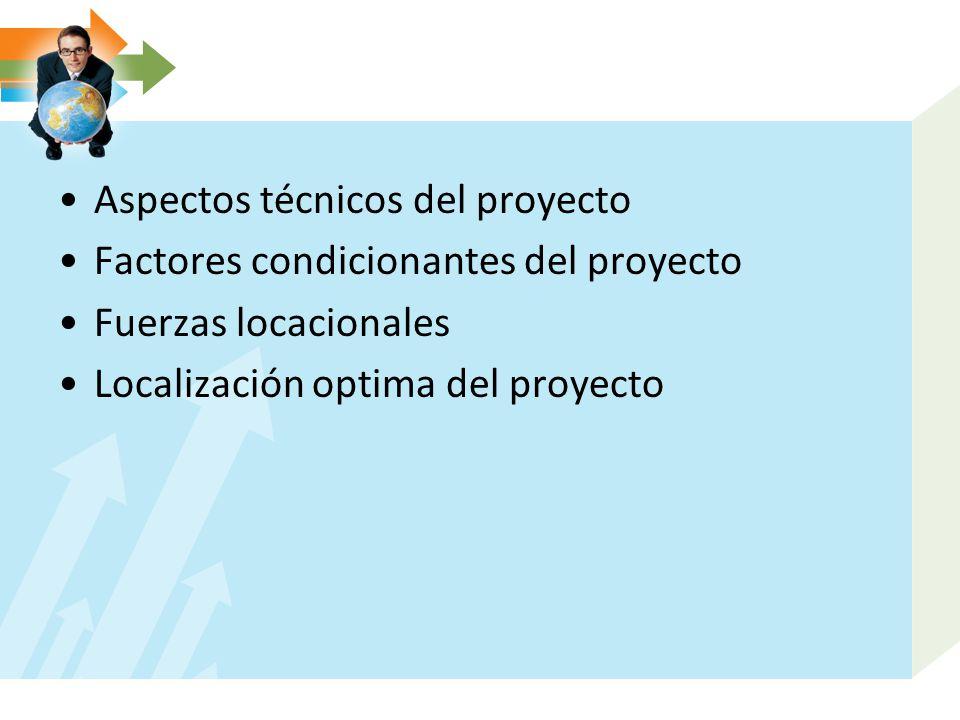 Aspectos técnicos del proyecto Factores condicionantes del proyecto Fuerzas locacionales Localización optima del proyecto