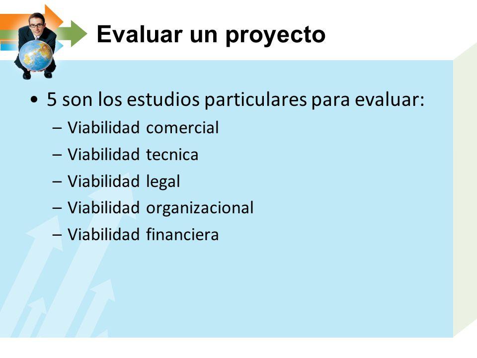 Evaluar un proyecto 5 son los estudios particulares para evaluar: –Viabilidad comercial –Viabilidad tecnica –Viabilidad legal –Viabilidad organizacion