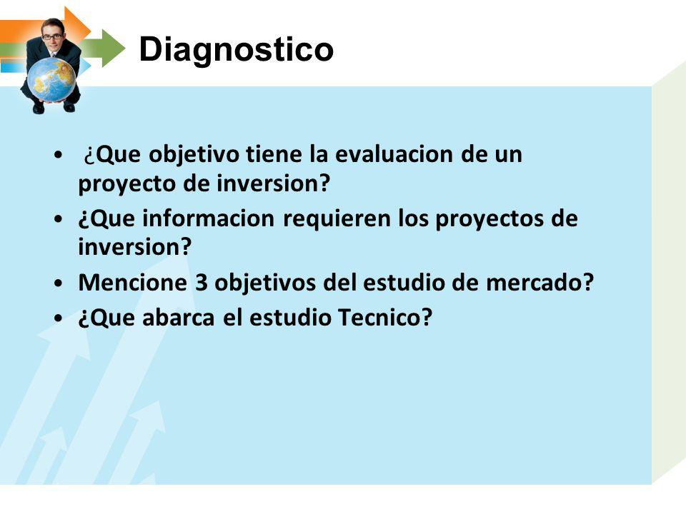 Diagnostico ¿Que objetivo tiene la evaluacion de un proyecto de inversion? ¿Que informacion requieren los proyectos de inversion? Mencione 3 objetivos