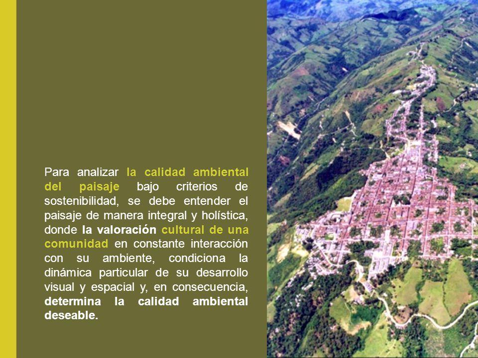 Para analizar la calidad ambiental del paisaje bajo criterios de sostenibilidad, se debe entender el paisaje de manera integral y holística, donde la