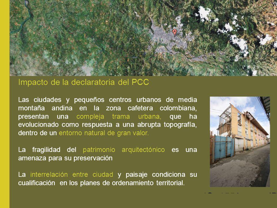 Las ciudades y pequeños centros urbanos de media montaña andina en la zona cafetera colombiana, presentan una compleja trama urbana, que ha evoluciona